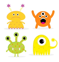 Set of four cute cartoon monsters Isolated vector image