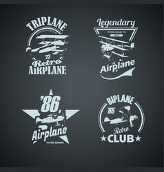 set retro airplanes vintage logotypes vector image