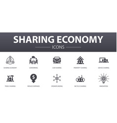 Sharing economy simple concept icons set contains vector