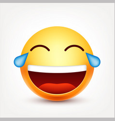 Smileylaughing emoticon with tears yellow face vector
