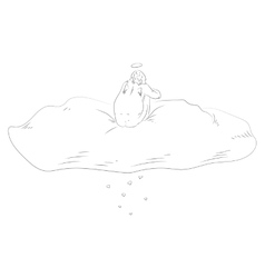 St Valentine sitting on the cloud vector