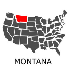 state of montana on map of usa vector image