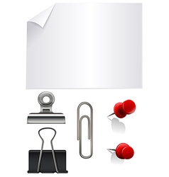 Stationary set with paper and clips vector
