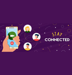 stay connected banner people in phone vector image
