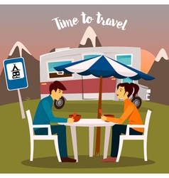Summer Camp Man and Woman Sitting Near the Camper vector image