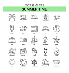 summer time line icon set - 25 dashed outline vector image