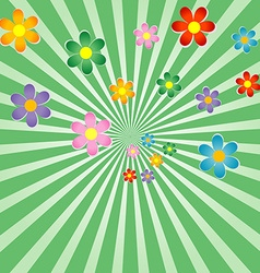 Sunburst background with flowers vector image