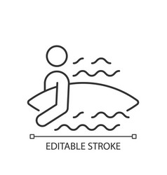 surfer entering water linear icon vector image
