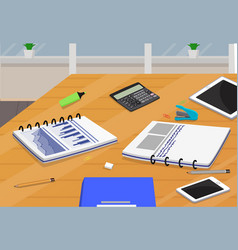 table with business supplies vector image
