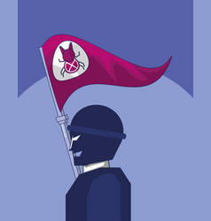 Terrorist with flag bug cyber atack vector