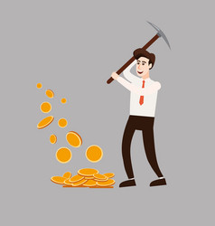 the businessman character holds a pickaxe in his vector image