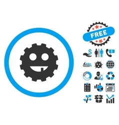 Toothless Gear Smiley Flat Icon with Bonus vector