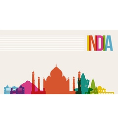 Travel india destination landmarks skyline vector
