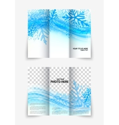 Trifold snowflake brochure vector