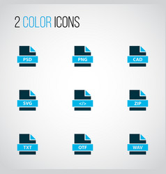 Types icons colored set with file zip file png vector