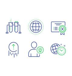 user idea chemistry beaker and swipe up icons set vector image