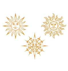 Vintage sun mascots vector image vector image