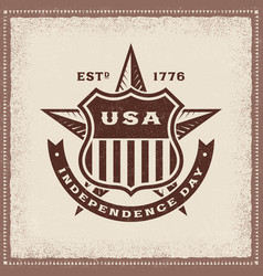 Vintage usa independence day label vector
