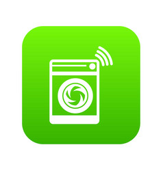 washing machine icon green vector image