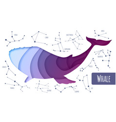 Whale silhouette cut out paper art style design vector