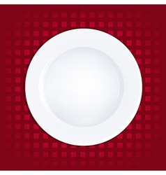 White Plate On Red Background vector image