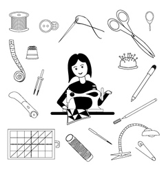 Woman sews and tools for tailoring vector