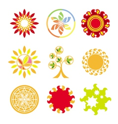 collection of logos in the form of the sun vector image