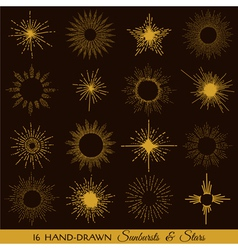 Sunbursts and Stars - hand-drawn vector image