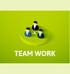 team work isometric icon isolated on color vector image