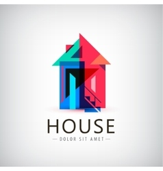 colorful geometric house vector image vector image