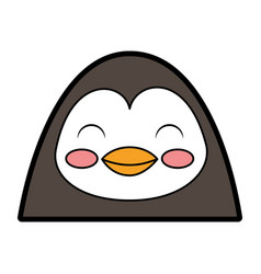 cute penguin face cartoon vector image