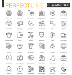 e-commerce and shopping thin line web icons set vector image vector image