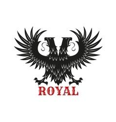 Royal double headed eagle black heraldic symbol vector