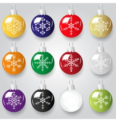 shiny christmas decoration with snowflake color vector image vector image
