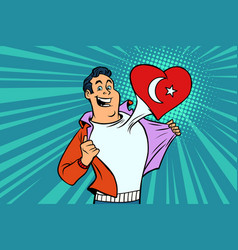 turkey patriot male sports fan flag heart vector image vector image