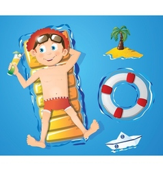 Water fun - boy vector image