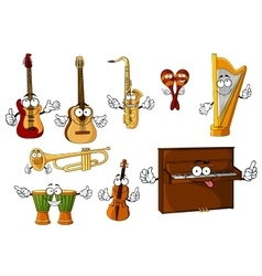 Classic cartoon musical instruments characters vector image
