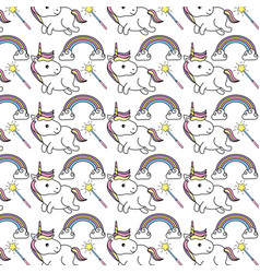 Cute unicorn with magic wand and rainbow with vector