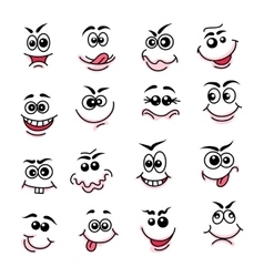 Doodle happy faces vector image