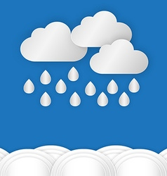 A cloud with rain drop over water or sea against vector image