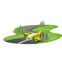 An airplane at the road beside the young girl vector image