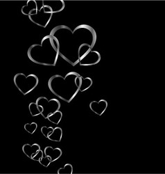 Background with silver hearts vector