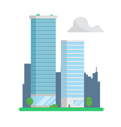 city skyscrapers on urban background flat design vector image vector image