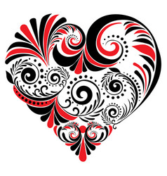 folk floral heart vector image vector image