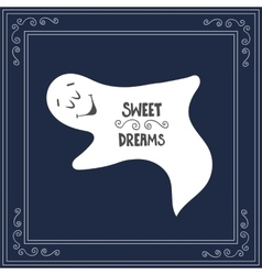 Hand drawn text sweet dreams on blue sky vector image vector image