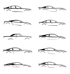 set of a black slhouette car on white background vector image
