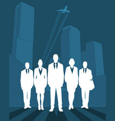 silhouette business team vector image