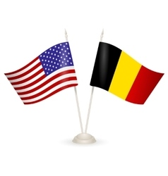 Table stand with flags of Belgia and USA vector image vector image