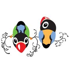 two cartoon birds vector image vector image