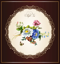 Vintage postcard with beautiful flowers vector